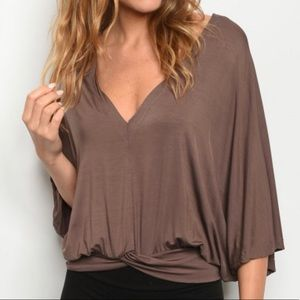 Tops - BROWN BLOUSE
